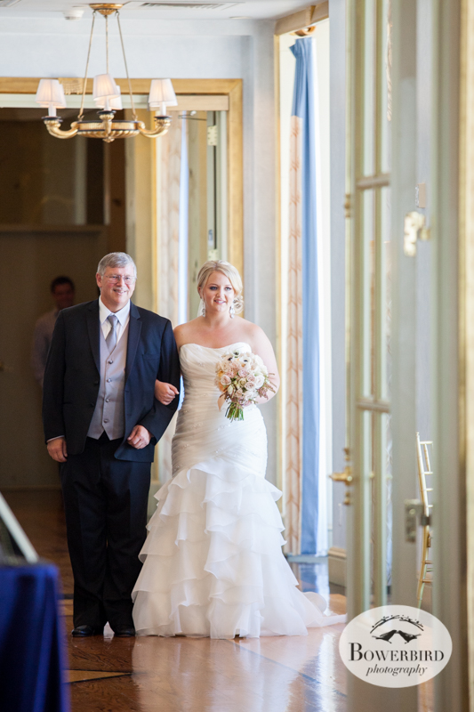 The bride escorted by her dad. Westin St. Francis wedding ceremony on Imperial Floor. © 2014 Bowerbird Photography