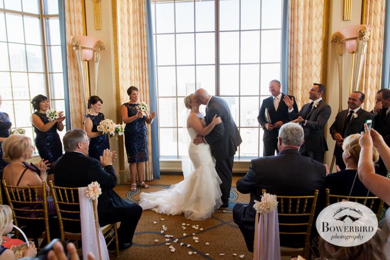The Kiss!Westin St. Francis wedding ceremony on Imperial Floor. © 2014 Bowerbird Photography.jpg