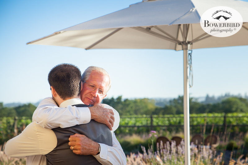 Groom and father-in-law moment. This is what candid photography is all about! DeLoach Vineyards. Sonoma Wedding Photographer. © Bowerbird Photography 2016