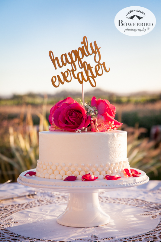 Happily Ever After, with a bite of wedding cake, and then into a beautiful sunsetDeLoach Vineyards. Sonoma Wedding Photographer. © Bowerbird Photography 2016