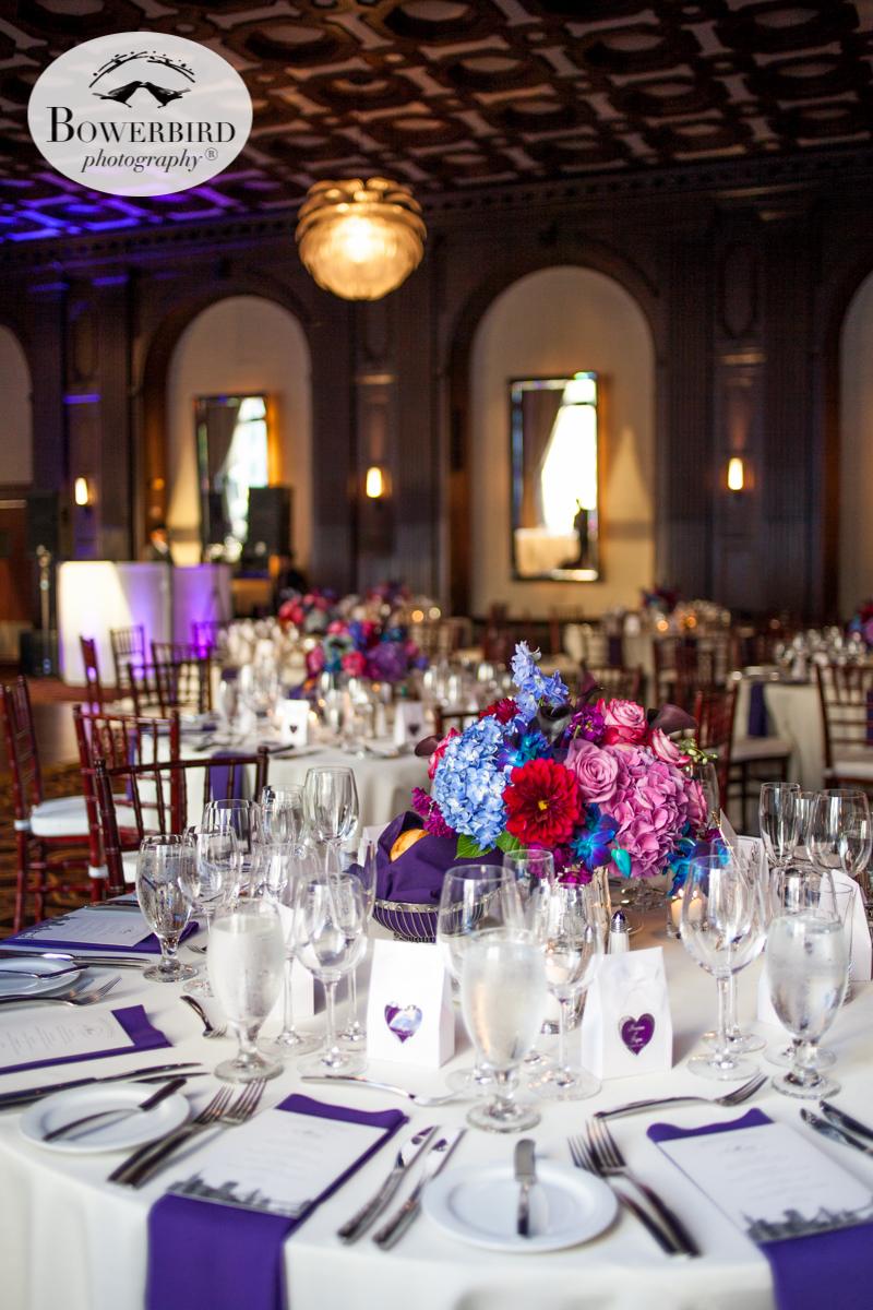 Everything perfectly laid out at the Julia Morgan Ballroom. Purple, Blue, and Red. © Bowerbird Photography 2016