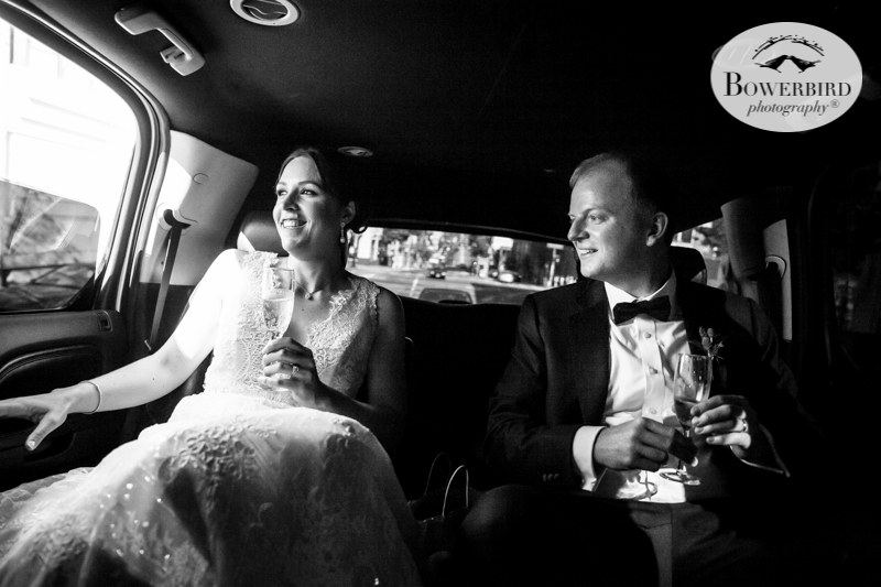 Champagne in the limo © Bowerbird Photography 2016
