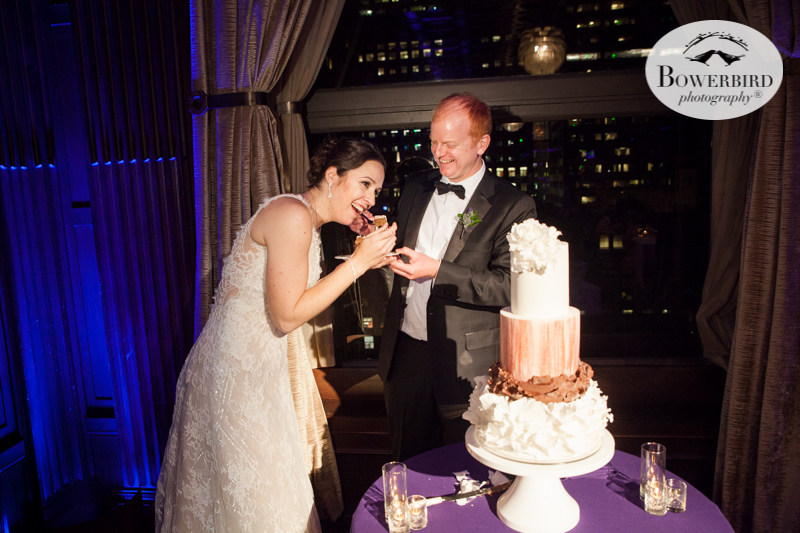 At the Julia Morgan Ballroom, the bride and groom cut their wedding cake. © Bowerbird Photography 2016
