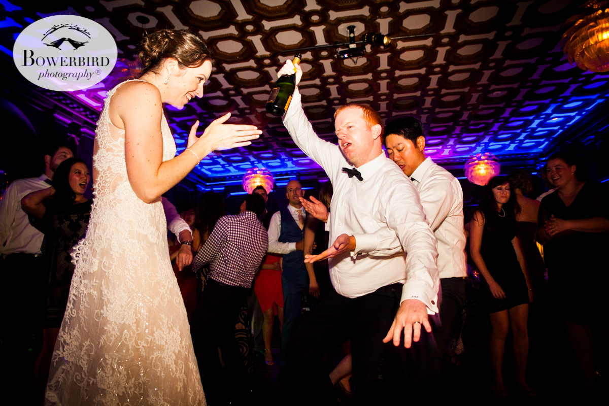 Hi-jinks ensue with the bride and groom on the dance floor at the Julia Morgan Ballroom. © Bowerbird Photography 2016