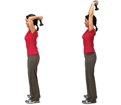 you can do this with 2 hands at the same time or one hand at a time.  remember to hold your elbow in one place and let the triceps do the work instead of your whole arm.