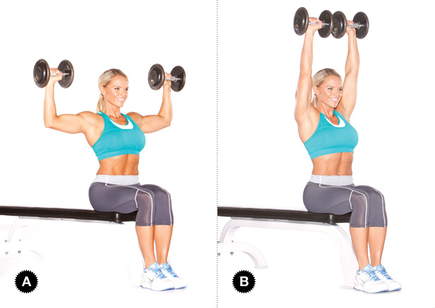Notice in figure A where she's stopping. There's no need to go all the way down with the weight.