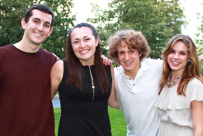 From left: Brian Evans '15, Katie Puccio '15, Michael Dyer '16, Joanie Frost '16