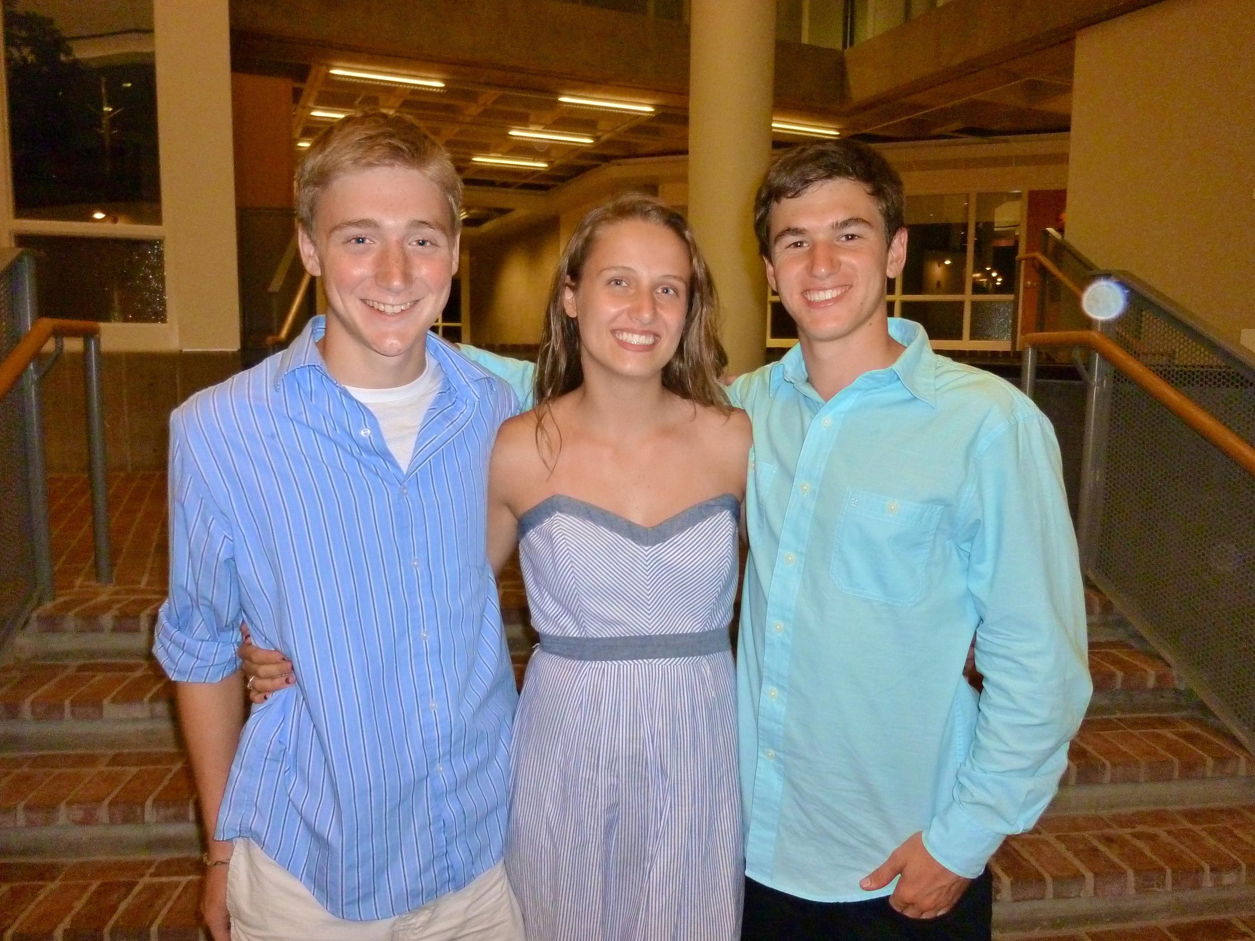 From left: Ryan Dorey '15, Mackenzie Leavenworth '15, and Bryce Lupoli '15