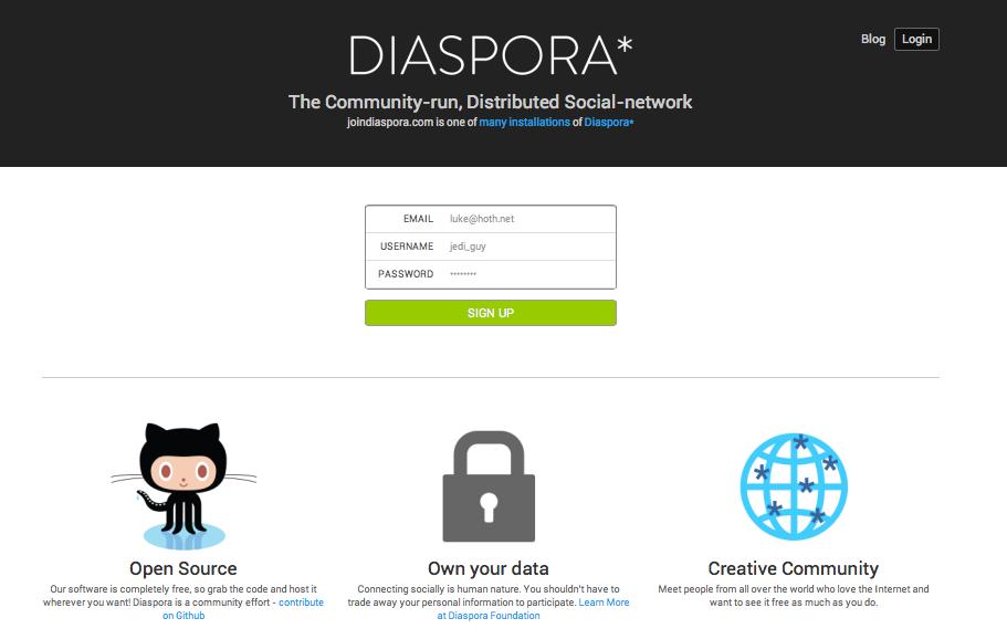 Diaspora's login page.