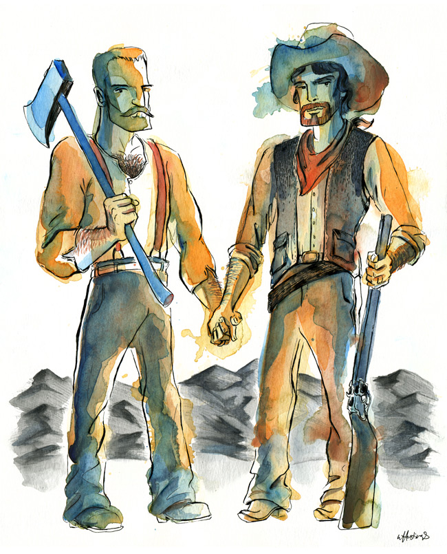 Homestead Husbands - ink and watercolor ©2012