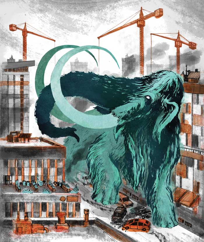 "Ghost Mammoth  11"" x 14"" ink, watercolor, digital  2014"