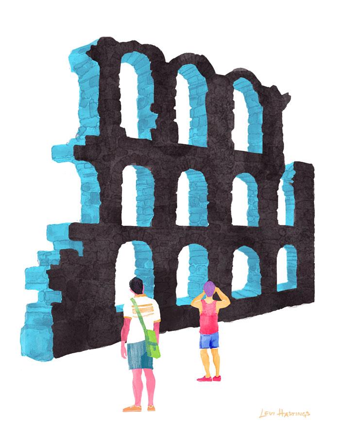 """Ruin   11"""" x 14"""" Watercolor & Digitial"""
