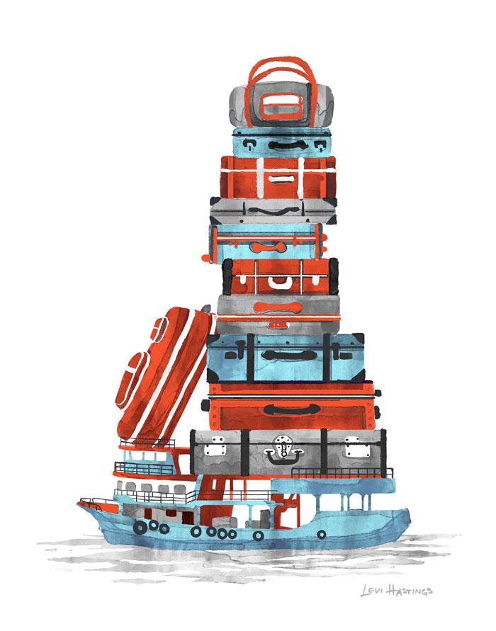 """Baggage Barge   11"""" x 14"""" Watercolor & Digitial"""
