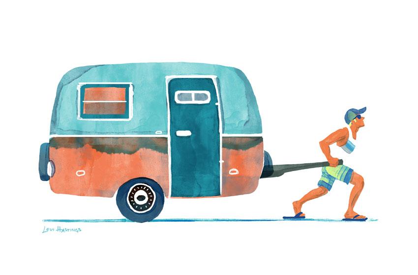 "Mobile Home   11"" x 14"" Watercolor & Digitial"