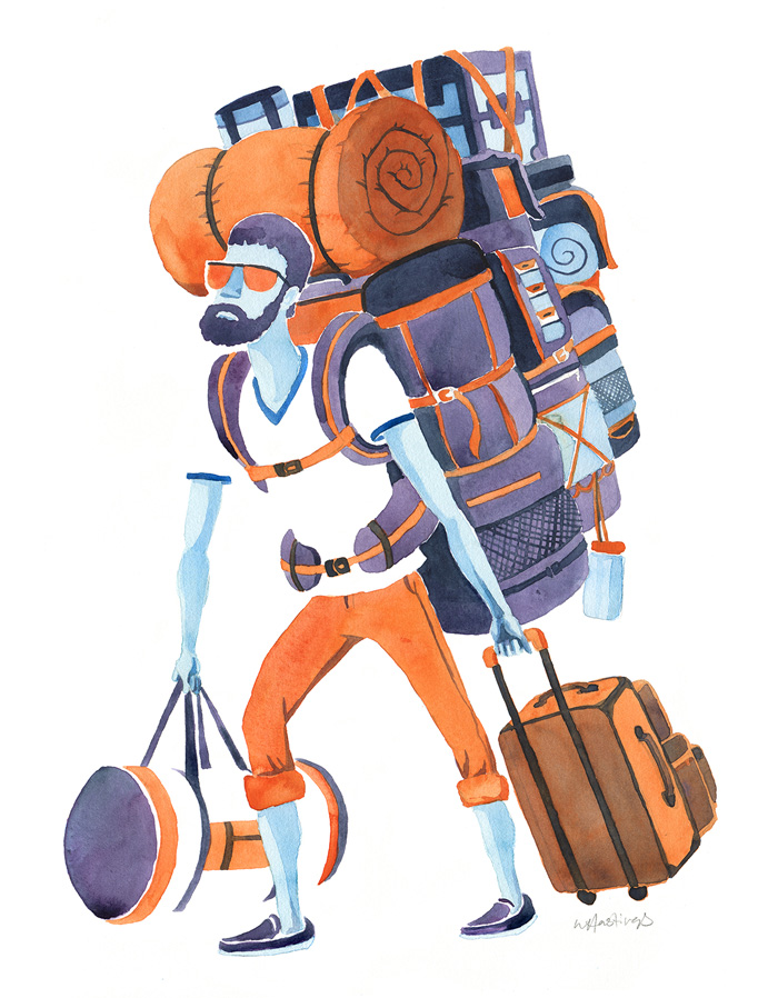 "Baggage Claim   16"" x 20"" Watercolor"