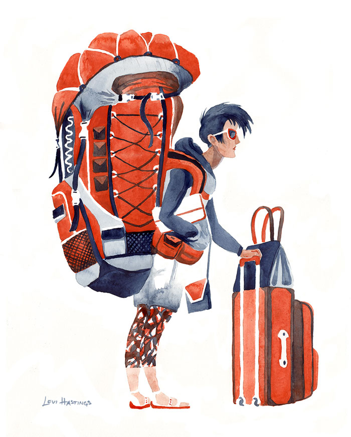 """Carry-On    11"""" x 14"""" Watercolor"""