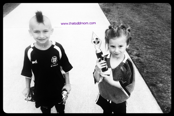 Game day hair from the last game of their last soccer season.