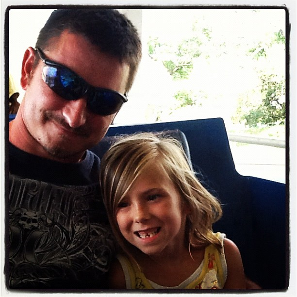 May 2012: KOA/SheCon trip - Ema & the Hubs on the People Mover at Disney World