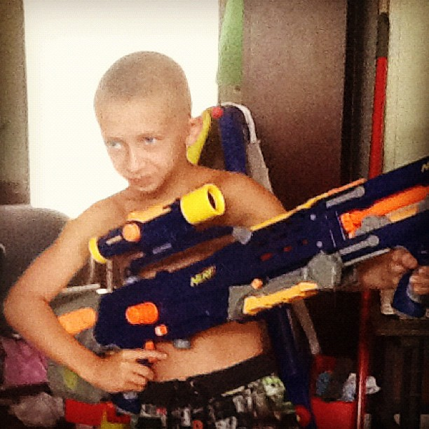 July 2012: Giant Nerf guns are a must for summer!