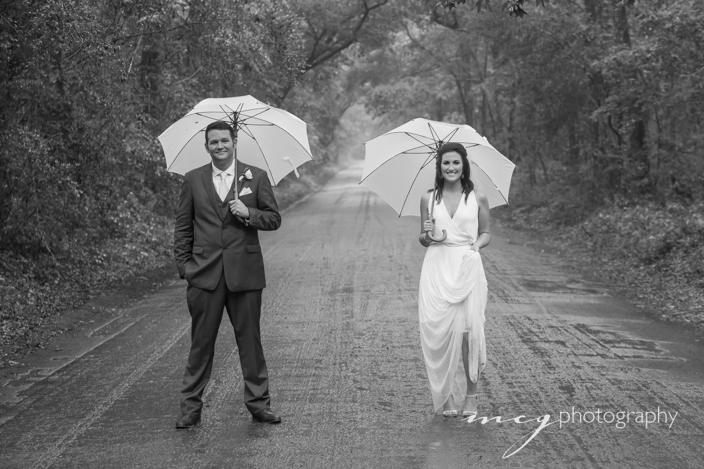 wedding portraits in the rain