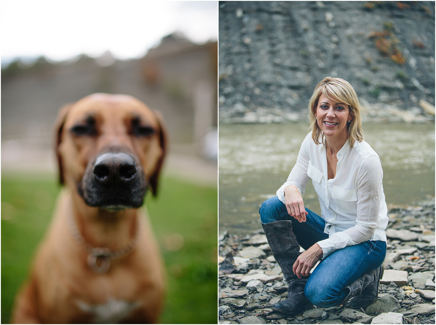 A beautiful woman and her beautiful dog. Family Portraits in Cleveland at Rocky River Park