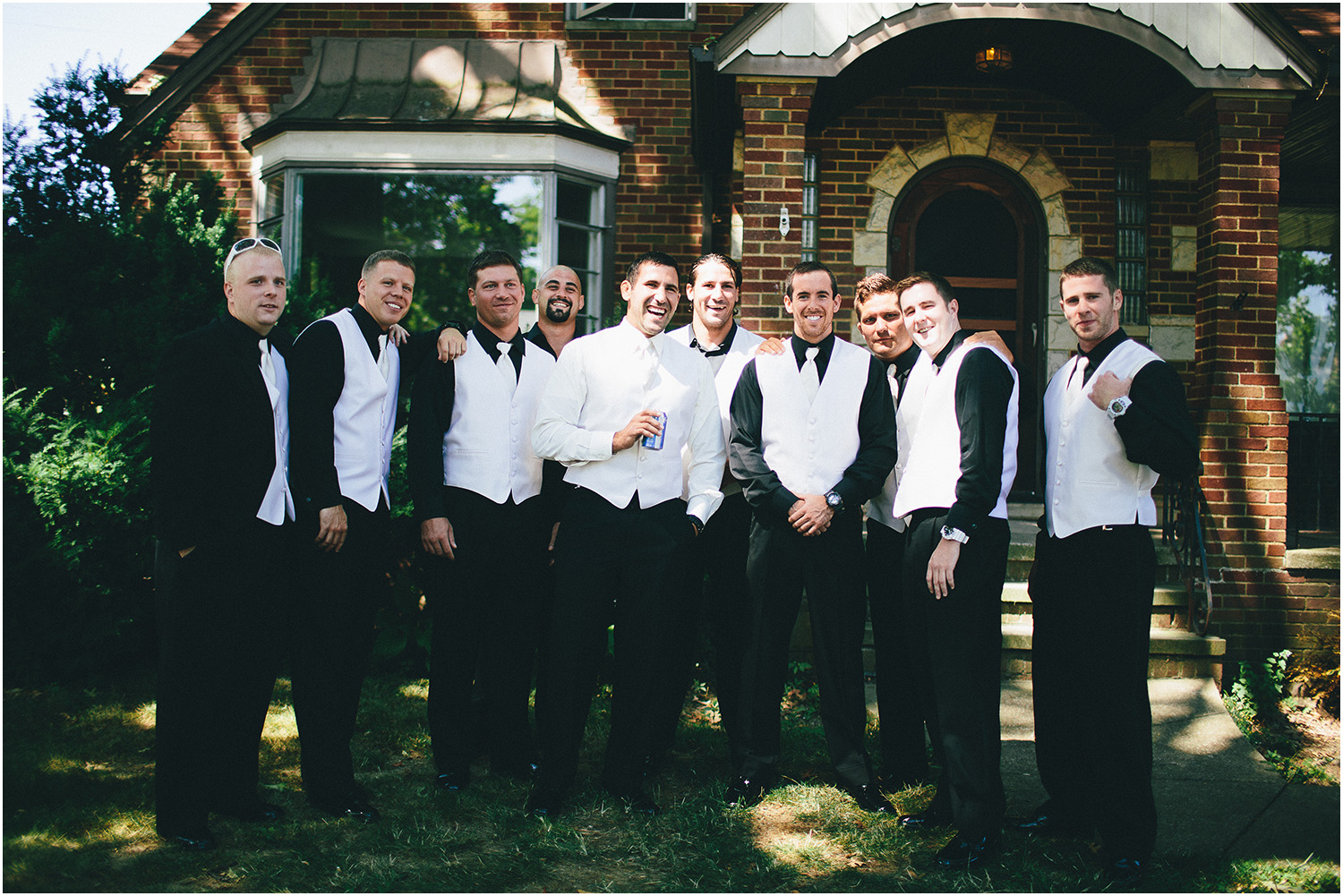 Guys relaxing before wedding! - Creative Cleveland Wedding Photographer - St. James Church
