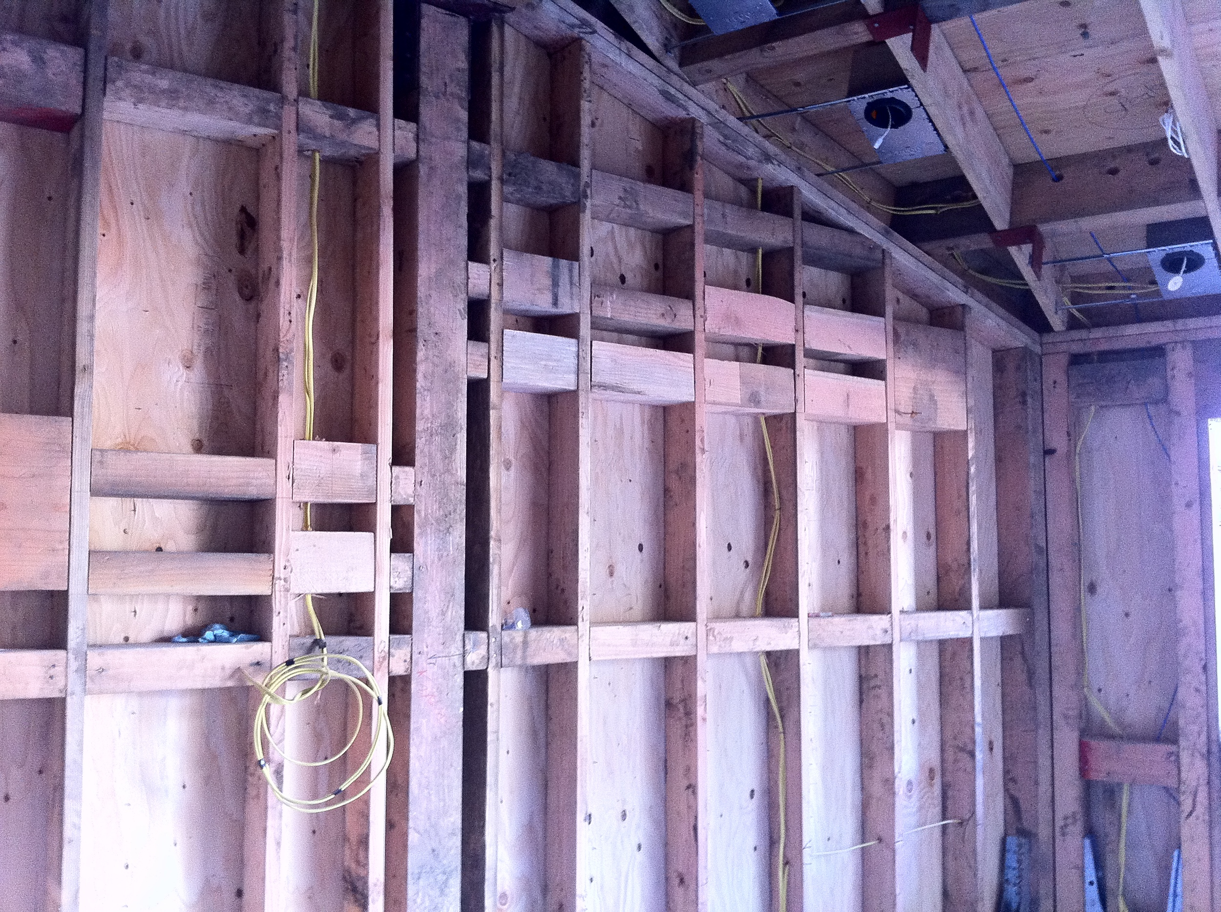 Blocking in place for various beams, recesses, and stonework.
