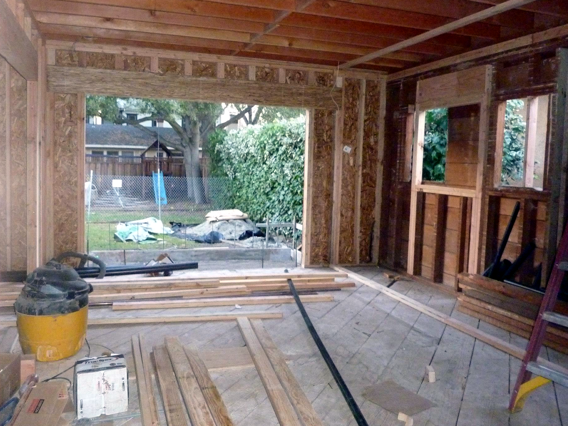 This opening in the new Family Room will get a bi-folding french door assembly