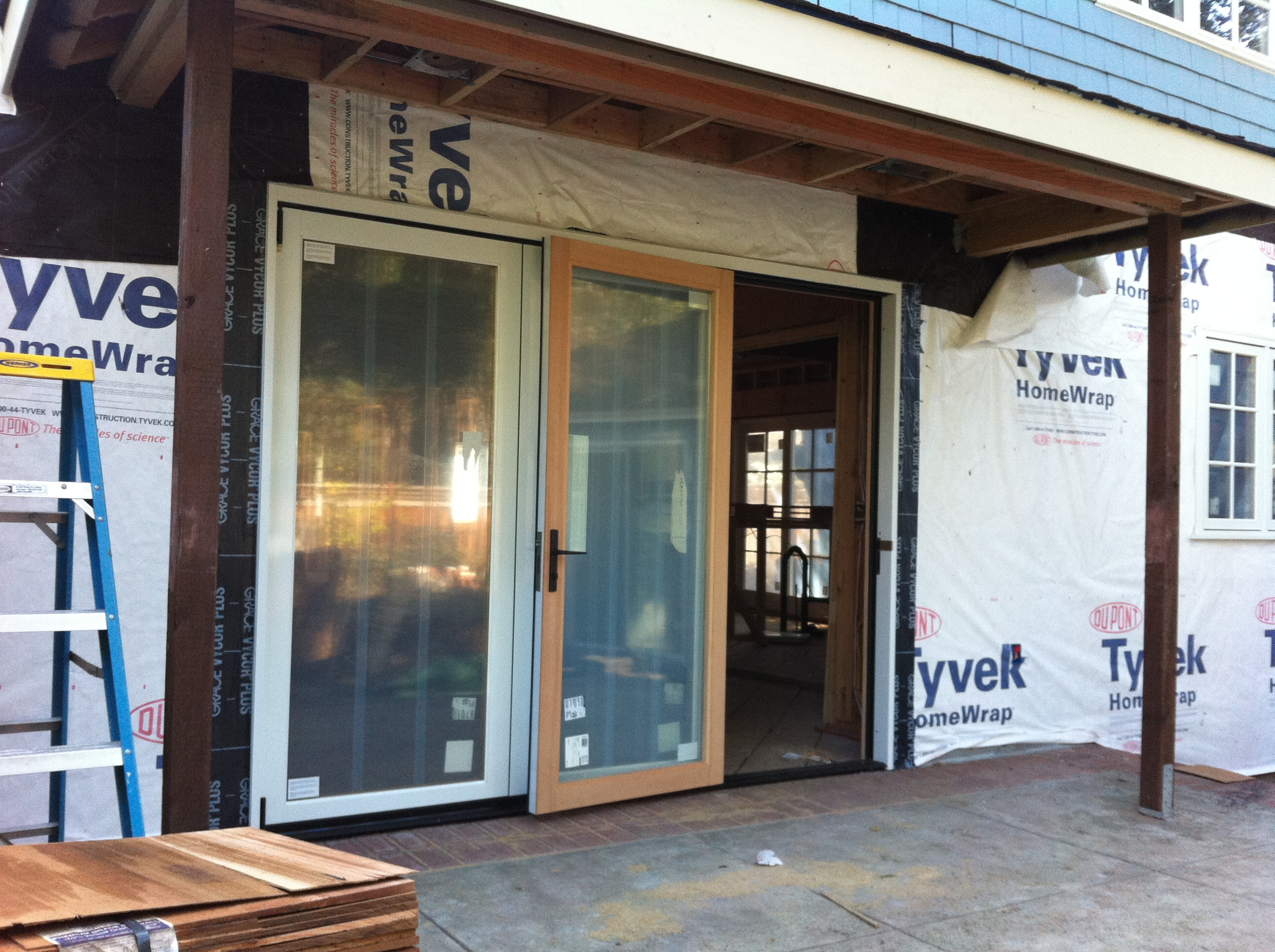 The folding door system coming from the new Family Room.