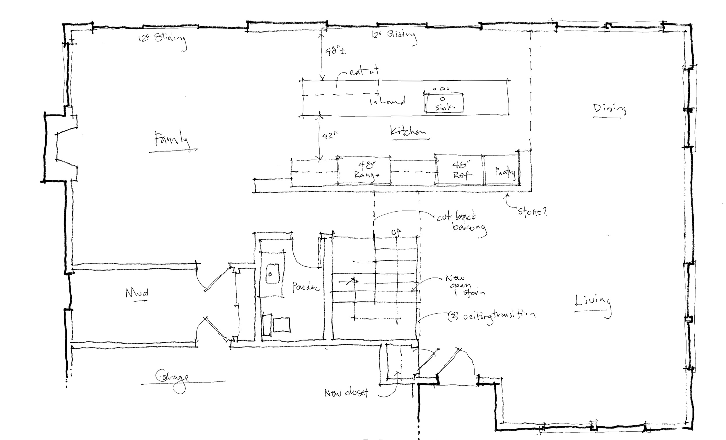 The most basic plan, leaving the existing stair.