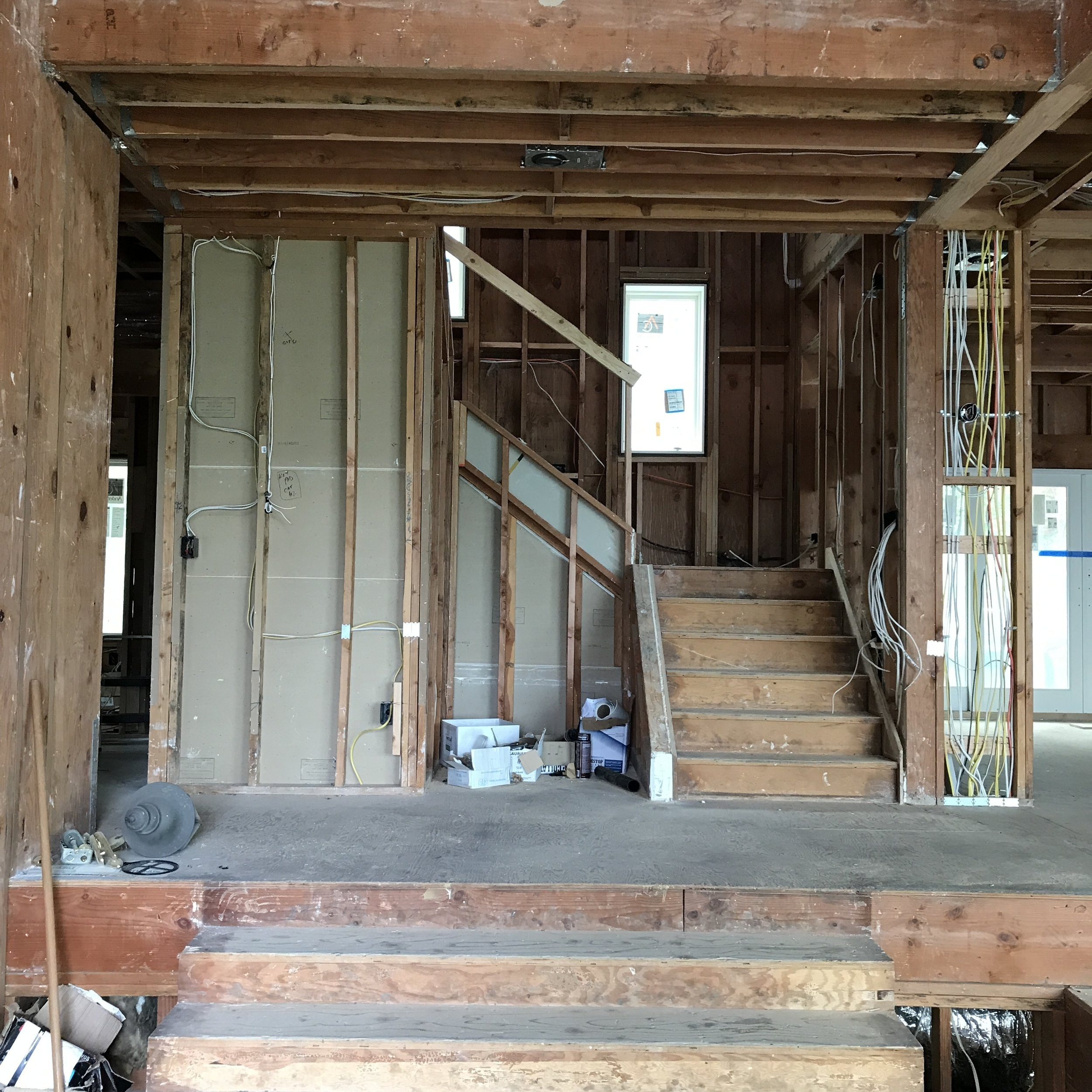 The existing entry and stair after finishes removed.