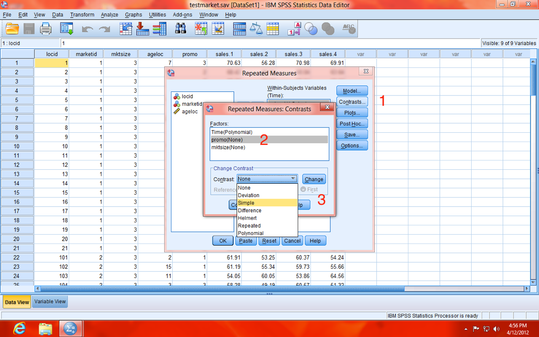SPSS Repeated Measures Contrasts Model Dialogue Window
