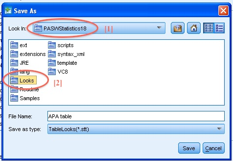 SPSS TableLooks Screen Example Cell Looks Directory Content: Save As