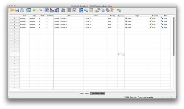 SPSS data sheet screen example number 2