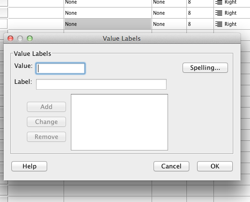 SPSS Dialog box for entering value labels