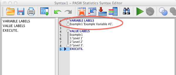 SPSS Variable Labels Syntax