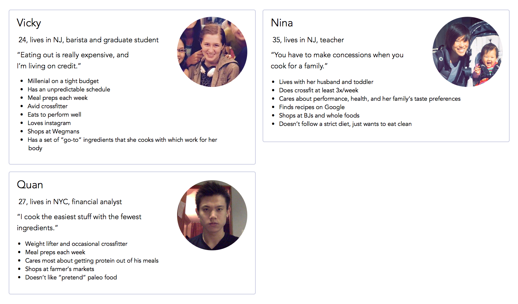 3 personas, developed from user interviews