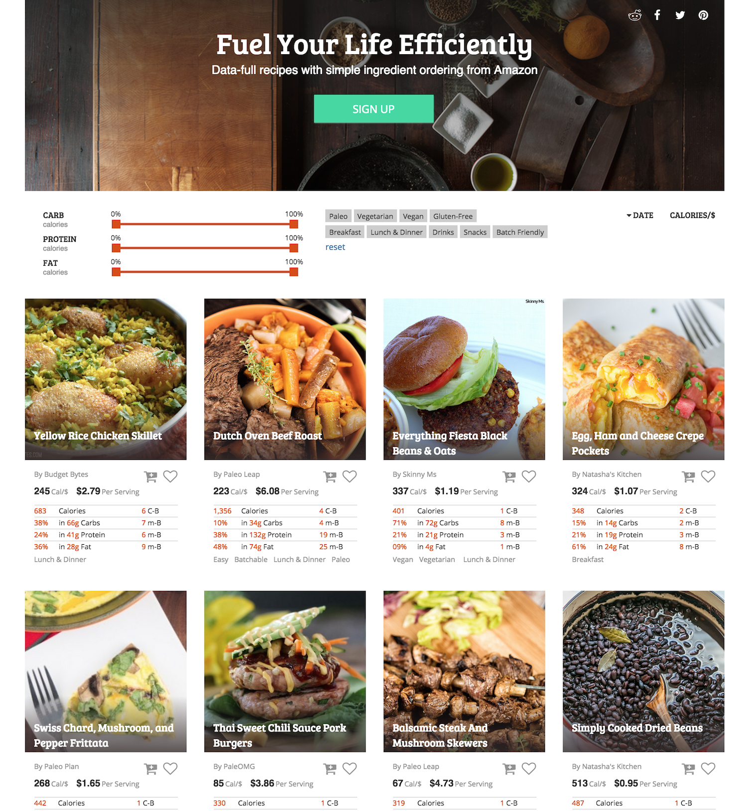 Homepage v1 - data focused