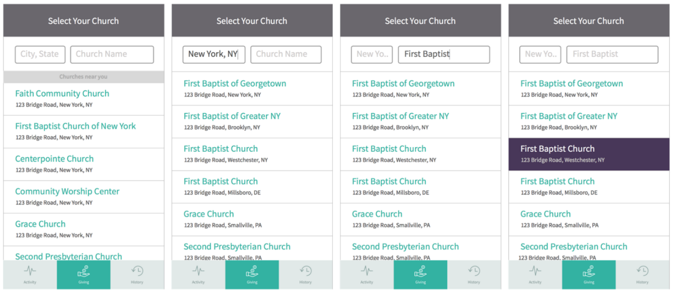 GPS location + User inputs City, State, Church name
