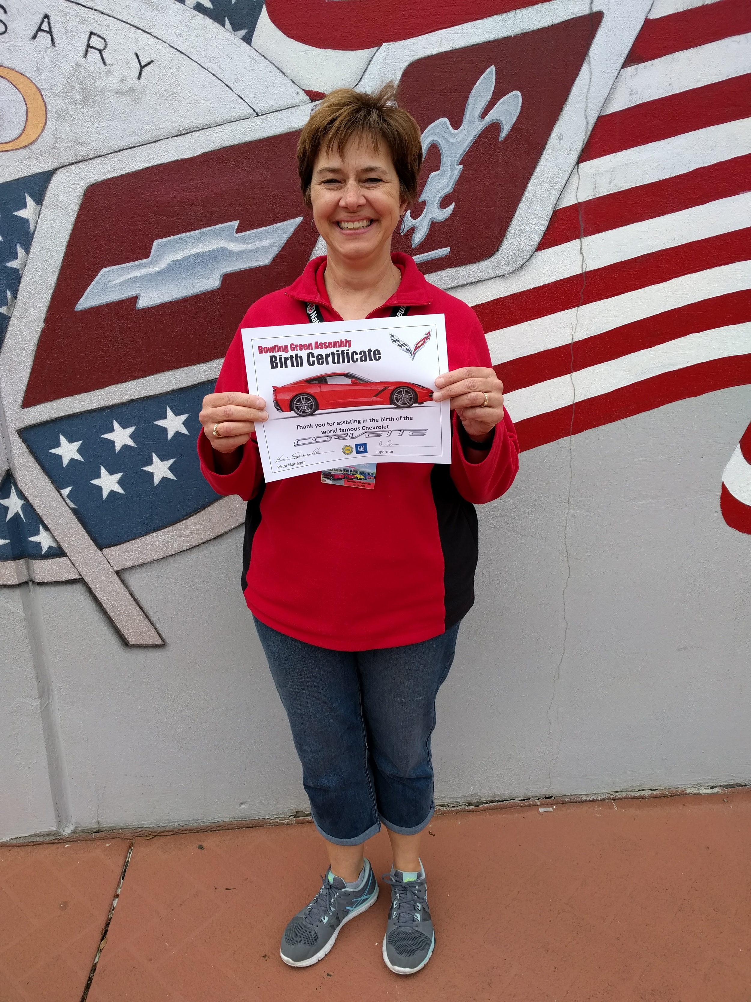 Melinda got to perform the first start of a corvette coming off the assembly line and got a Corvette Birth Certificate.