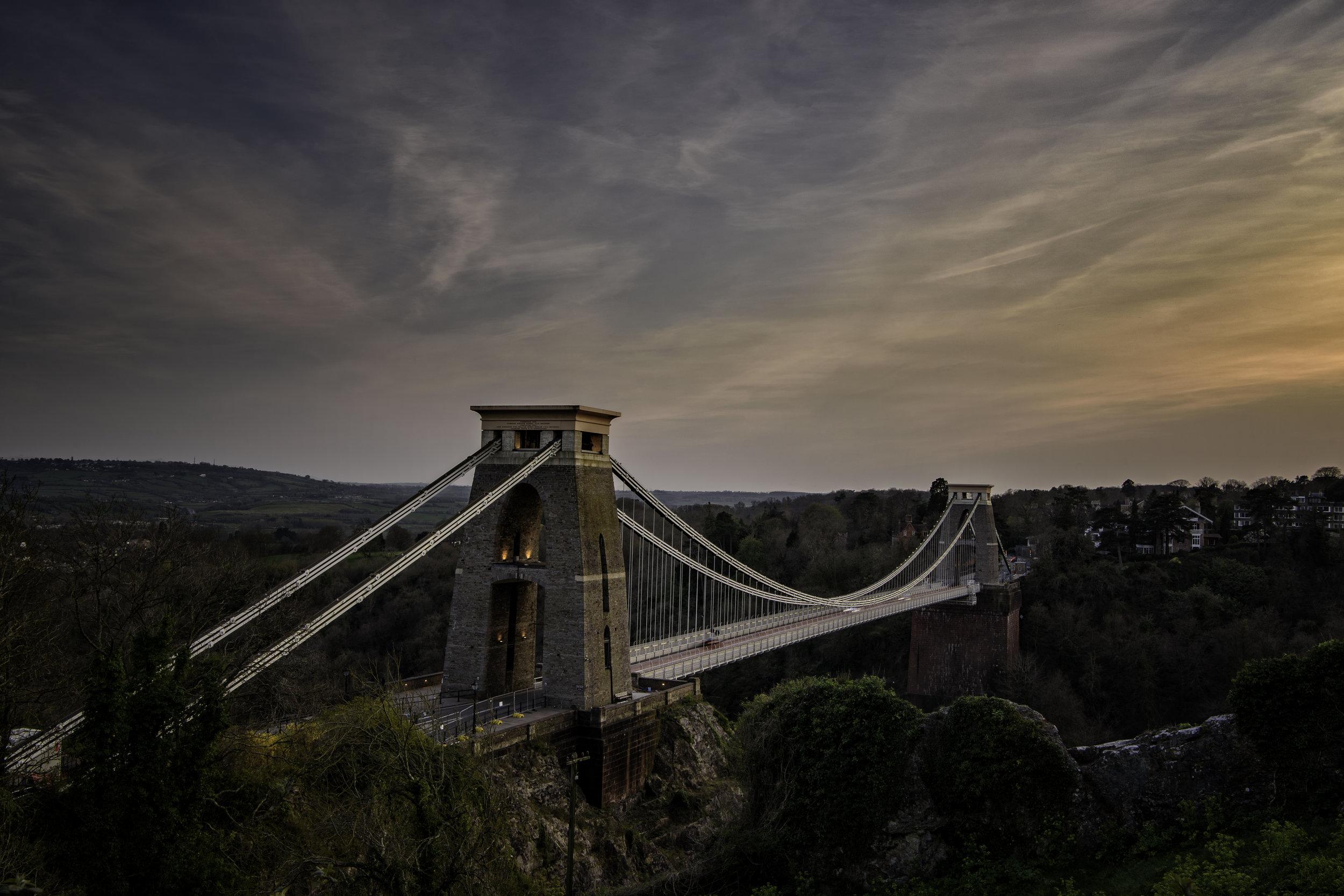 Sunset across the bridge