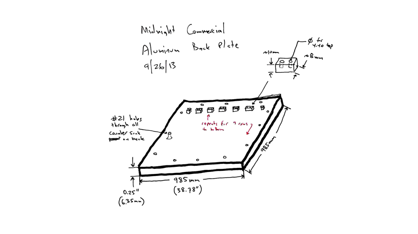 A sketch of an early aluminum backplate design.