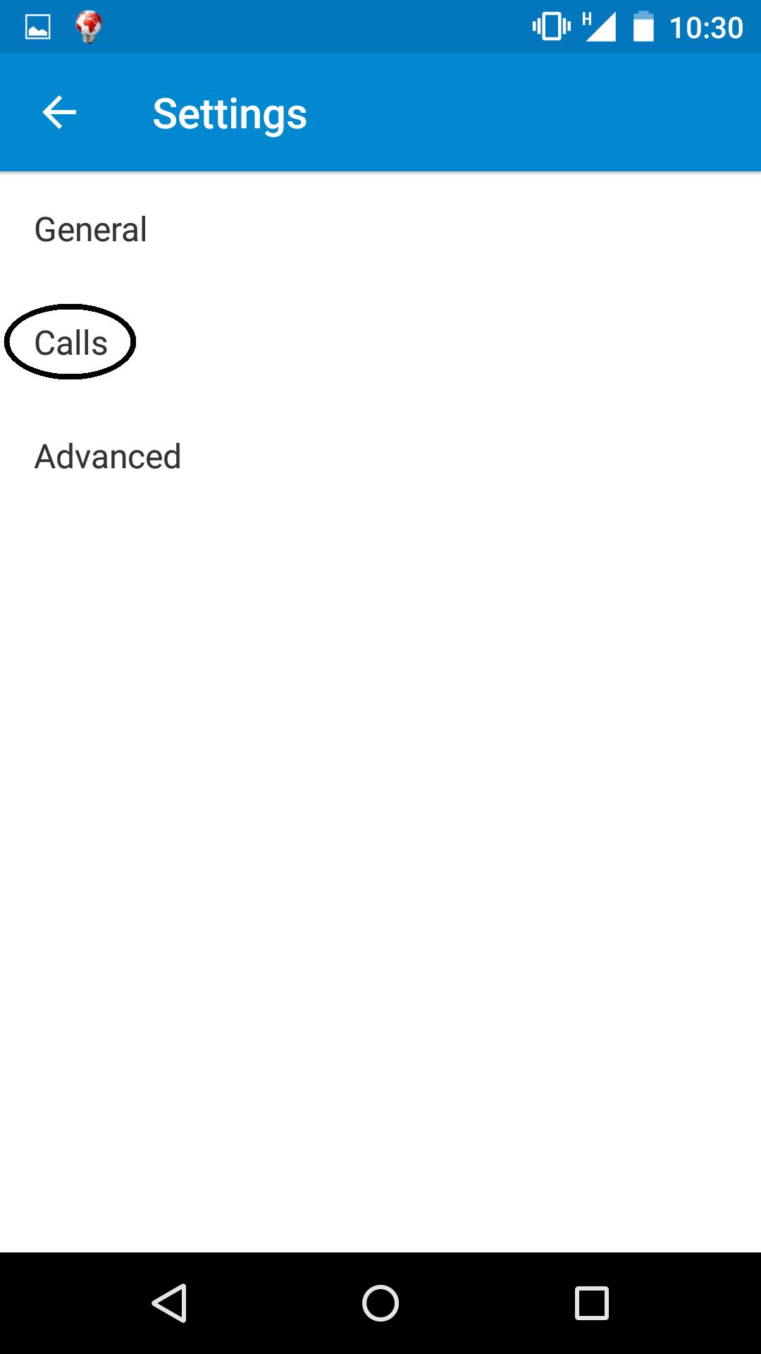 Select 'Calls'