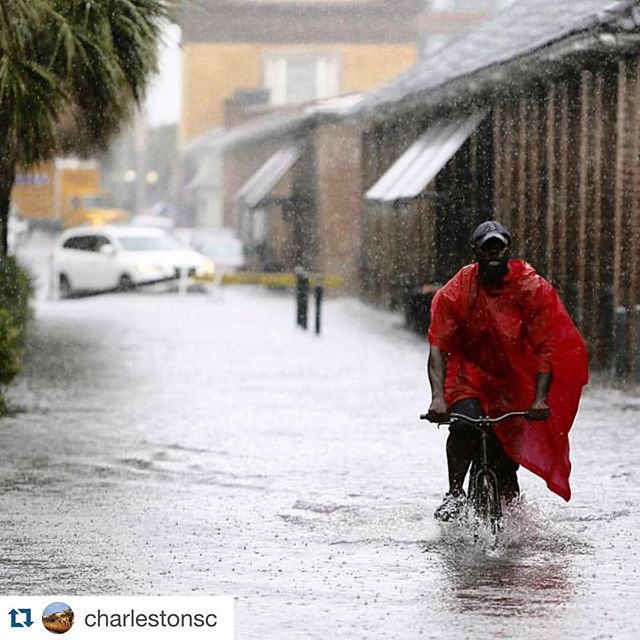 Thinking about everyone in beautiful #Charleston (a city we know well!), pummeled by rain and flooding. Even in such conditions the people still manage to find humor and heart 👇🏼👇🏼👇🏼 #Repost @charlestonsc #CHSlove ・・・ Please be alert and stay safe! We apologize for any inconvenience the flooding may cause you. Photo from @postandcourier #CharlestonSC