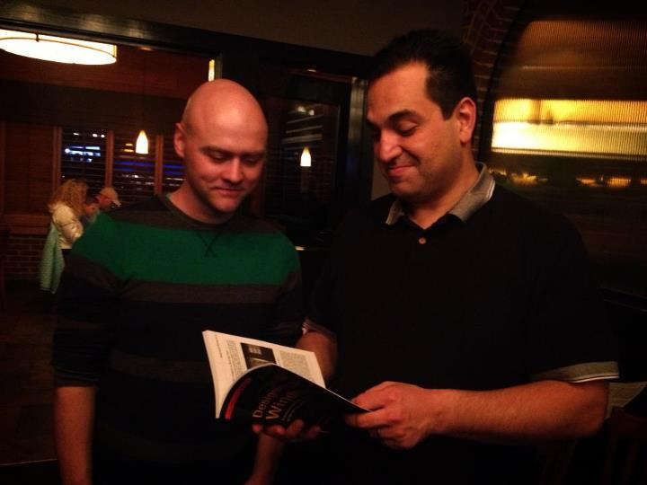 Me and Tolga discussing my book