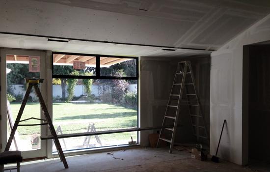 Orange County residential addition: modern interior under construction