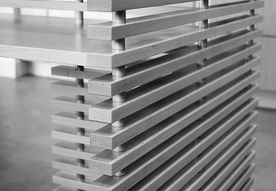 slatted kitchen island | maple + metal connection detail