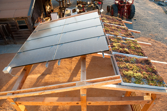 eight-panel photovoltaic array from above