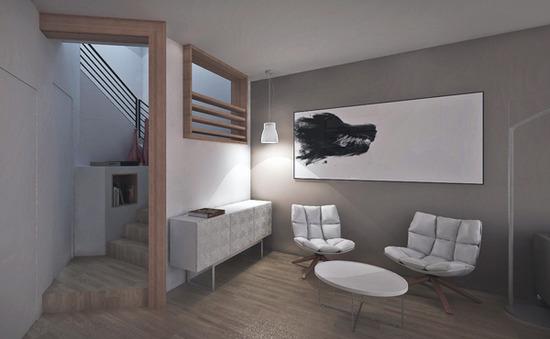 modern interior living space + stair // design rendering