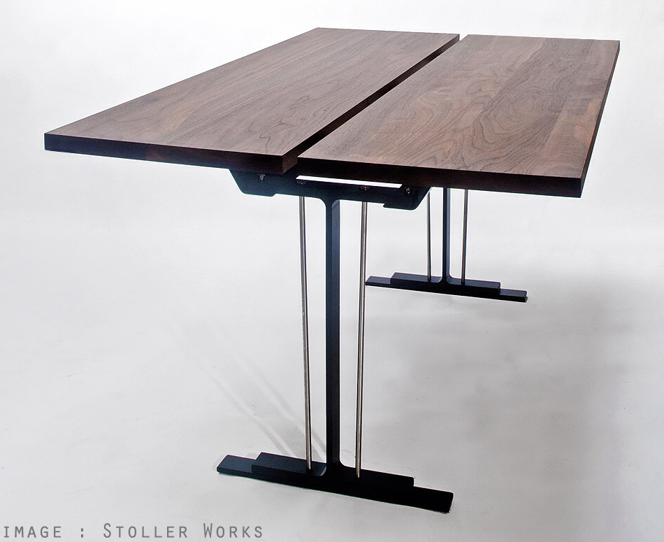 stoller works walnut and metal architectural table